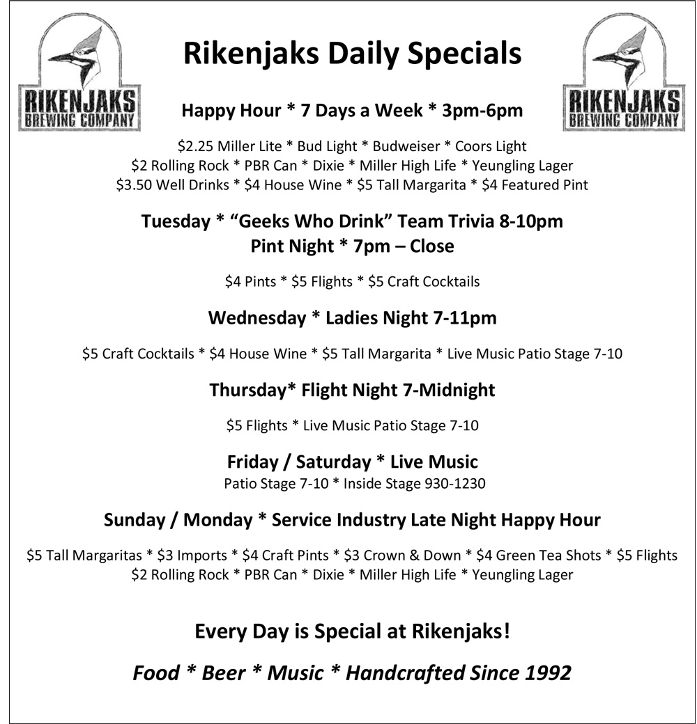 Rikenjaks Daily Drink Specials